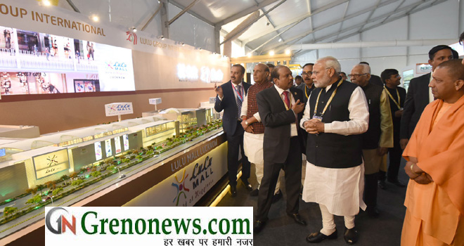 The Prime Minister, Shri Narendra Modi at the inauguration of the UP Investors Summit 2018, in Lucknow, Uttar Pradesh on February 21, 2018.