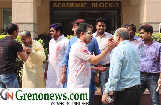 holi celebration in gl bajaj