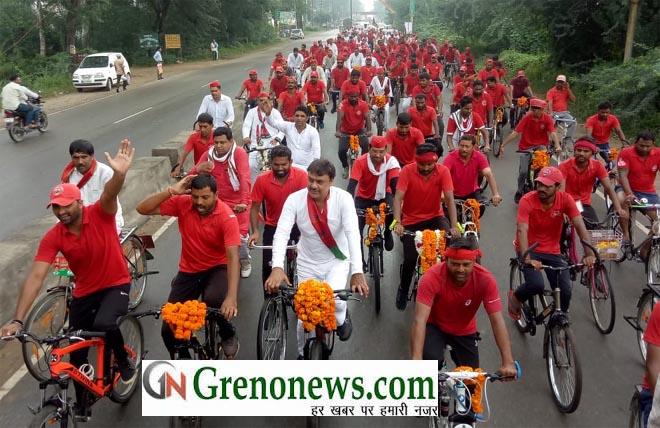 SAMAJWADI CYCLE YATRA REACHED TO GREATER NOIDA