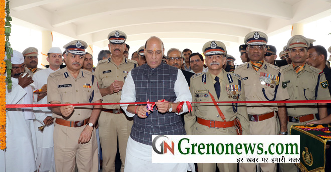 The Union Home Minister, Shri Rajnath Singh inaugurating the Multi Specialty Referral Hospital, at the ITBP campus, during the 57th Raising Day Parade of Indo-Tibetan Border Police (ITBP), at 39th  Bn, ITBP, Lakhnawali Camp, Surajpur, Greater Noida on October 25, 2018. The DG, ITBP, Shri R.K. Pachnanda is also seen