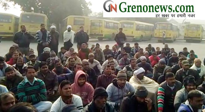 UP ROADWAYS DRIVER CONDUCTOR PROTEST AGAINST NOIDA POLICE - GRENONEWS