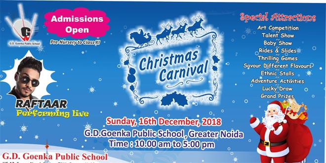 Christmas Carnival 2018 at G.D.Goenka School will be held on 16 th December - GRENONEWS