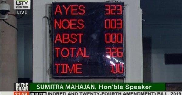 Lok Sabha passes the 124th Constitution amendment bill providing 10% reservation to economically weaker sections