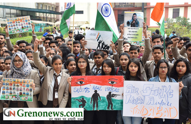 IIMT STUDENTS WELCOMED AIR STRIKE ON PAKISTAN- GRENONEWS