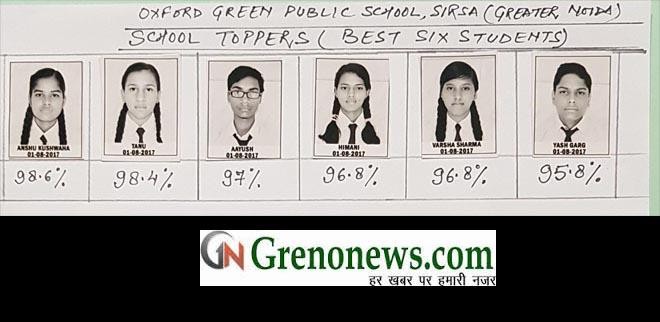 cbse 10th result oxford green public school