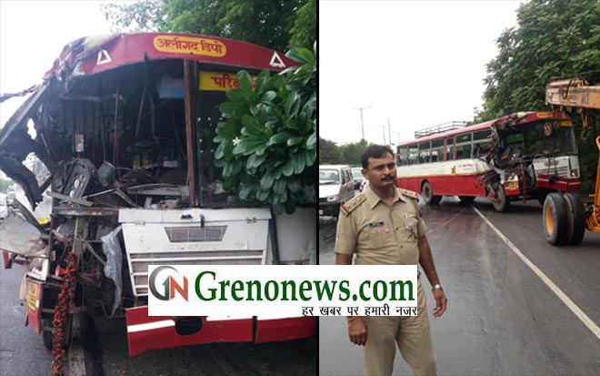 ROADWAYS BUS ACCIDENT AT GREATER NOIDA EXPRESSWAY- GRENONEWS