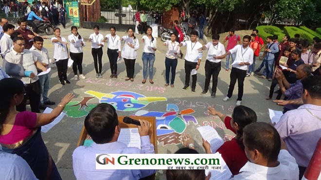 """""""SAY NO TO PLASTIC AND SAVE EARTH"""" PROGRAM IN GALGOTIA COLLEGE- GRENONEWS"""
