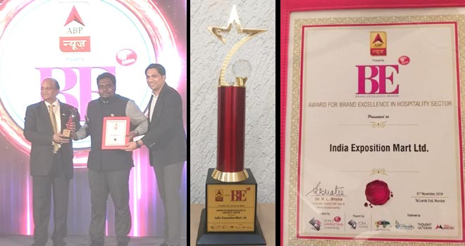 AWARD FOR BRAND EXCELLENCE IN HOSPITALITY SECTOR PRESENTED TO INDIA EXPOSITION MART LTD. BY ABP NEWS - GRENONEWS