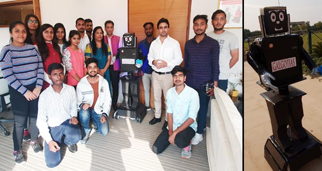 WELCOME ROBOT INVENTED BY STUDENTS OF GALGOTIA COLLEGE- GRENONEWS