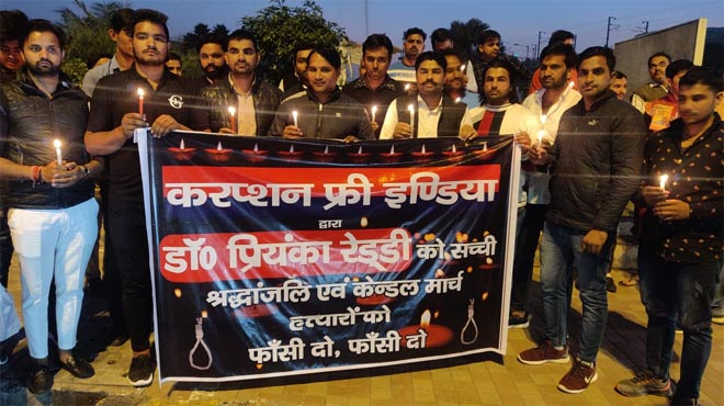 CORRUPTION FREE INDIA CANDLE MARCH FOR RAPE VICTIM PRIYANKA REDDY