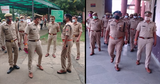 NOIDA POLICE CONDUCT SECURITY CHECKING IN SURAJPUR DISTRICT COURT